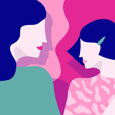 Illustration of a mother and daughter looking at each other - Libresse