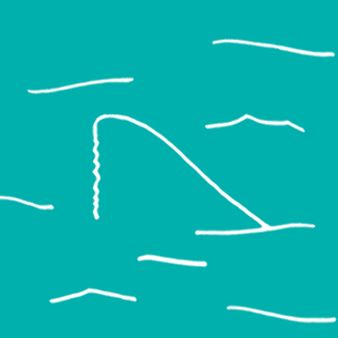 Illustration of a shark fin in the water - Libresse