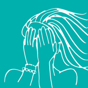 Illustration of a woman with her hands on her face - Libresse