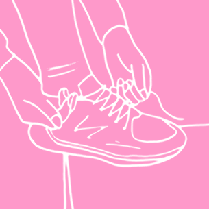 Illustration of a woman tying up her shoe laces - Libresse