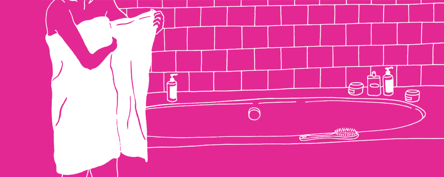 Illustration of a woman in a towel in a bathroom - Libresse
