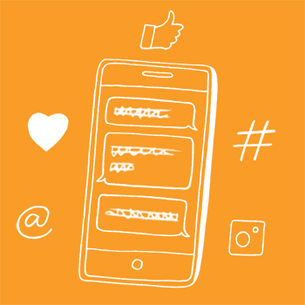 Illustration of a mobile phone and social media - Libresse