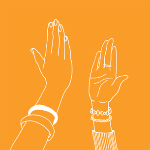Illustration of two friends high fiving - Libresse