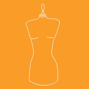 Illustration of a mannequin on an orange background - Libresse