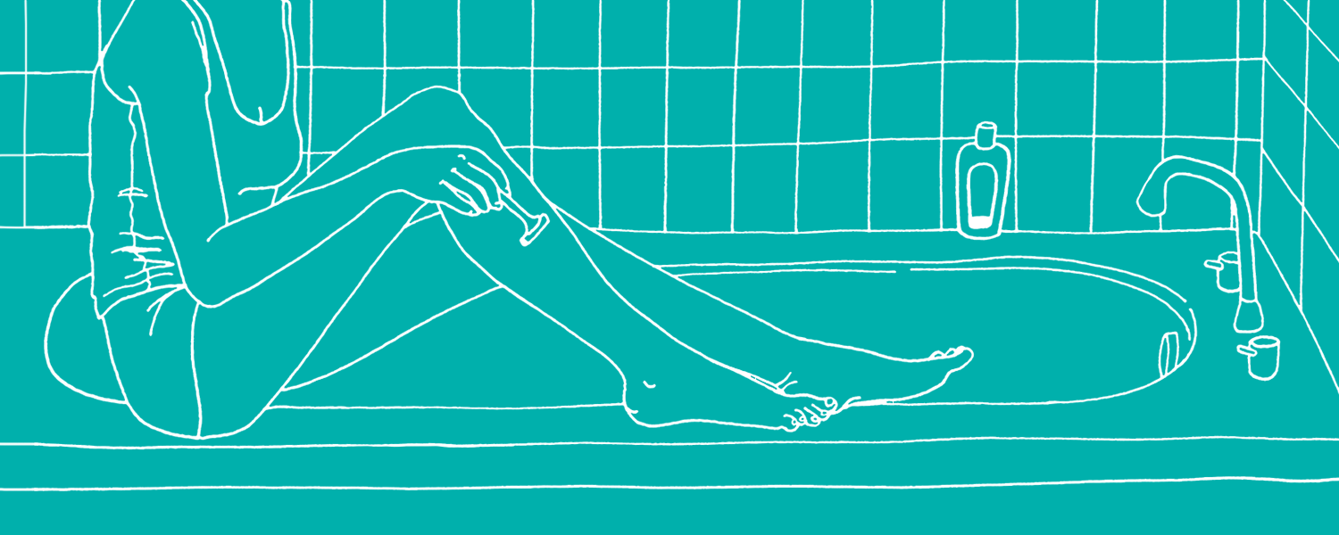 Illustration of a woman shaving her legs on the bath - Libresse