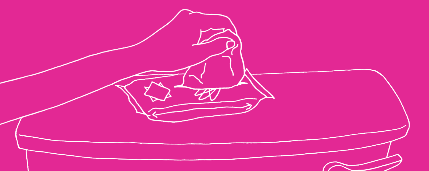 Illustration of a woman reaching for some intimate wipes - Libresse
