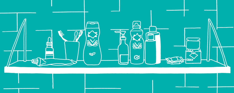 Illustrazione di un prodotto sulla mensola di un bagno – Nuvenia