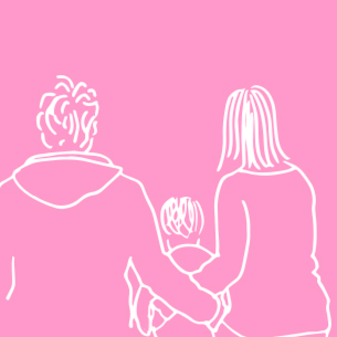 Illustration of a man, woman and child on a pink background - Libresse