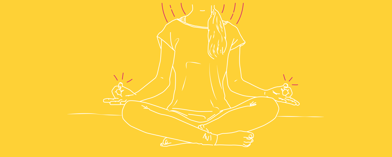 Illustration of a girl meditating on a yellow background - Libresse