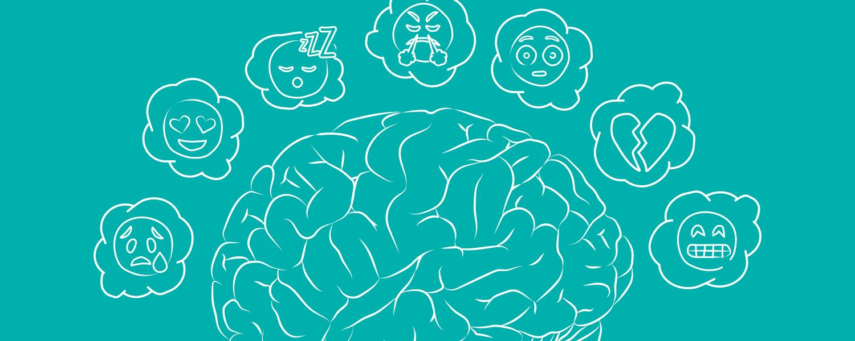 Illustration med en blå baggrund af en hjerne med forskellige følelser – Libresse